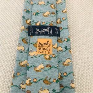 Hermès Silk Tie: Furrowing Bunny Rabbit Print